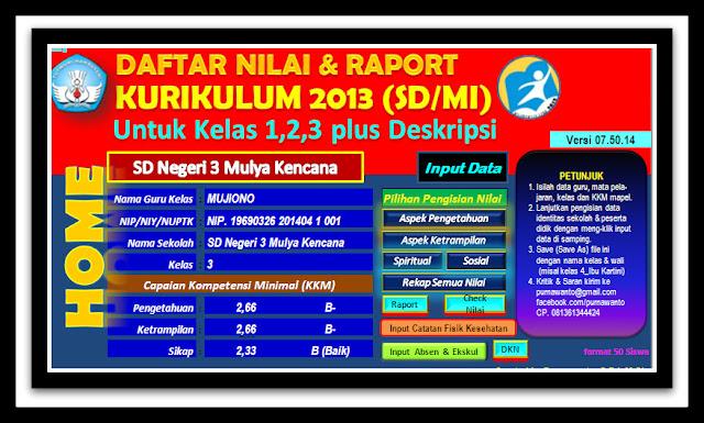 Aplikasi Raport Kurikulum 2013 SD Download Full Versi Terbaru Resmi