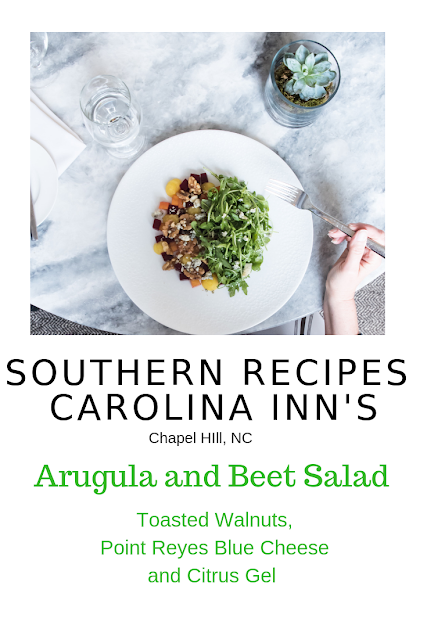 Chapel Hill's Carolina Inn is steeped with Southern culinary traditions. Chef Jeremy Blankenship shares his Arugula and Beet Salad Recipe with Toasted Walnuts, Point Reyes Blue Cheese and Citrus Gel. This salad will be the perfect complement to any Spring meal while beets are in season at farmer's markets, especially for Easter. #easter #salads