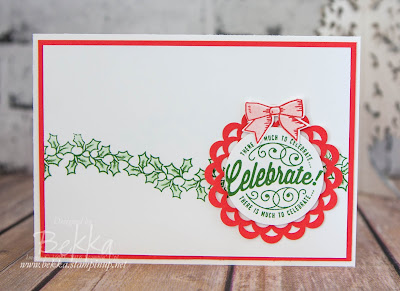 Here's to Cheers & Holly Berry Happiness Christmas Card made with products from Stampin' Up! UK which you can get here.
