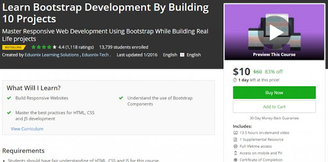 [83% Off] Learn Bootstrap Development By Building 10 Projects| Worth 60$