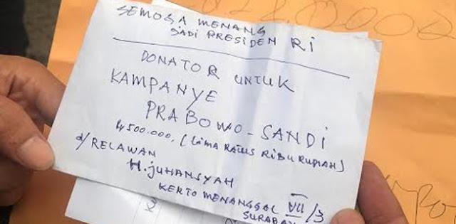 Relawan dari Surabaya Ini Sumbang Dana Kampanye untuk Prabowo-Sandi