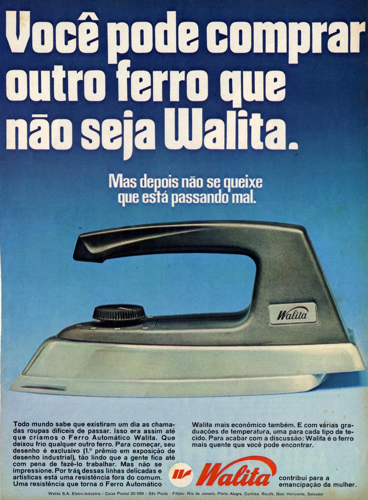 Propaganda antiga da Walita promovendo o novo modelo de ferro de passar roupa para o ano de 1966