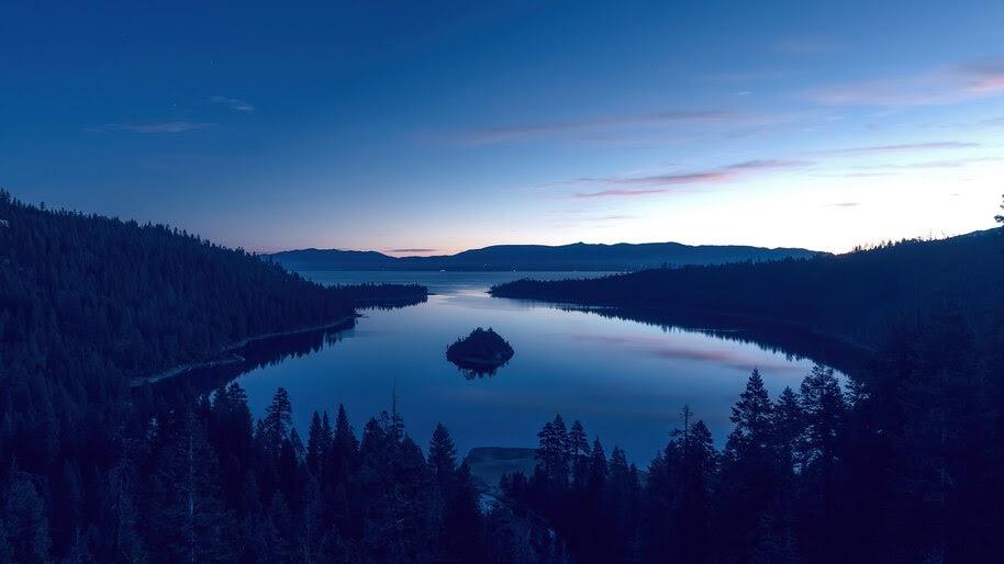 Lake, Forest, Sunrise, Horizon, Scenery, 4K, #6.975