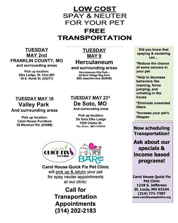 ... FREE Spay/neuter And FREE Transportation (thanks To Our Friends At  Barcstl.org And Carol House Quick Fix Pet Clinic). We Also, Have Treats,  Collars, ...