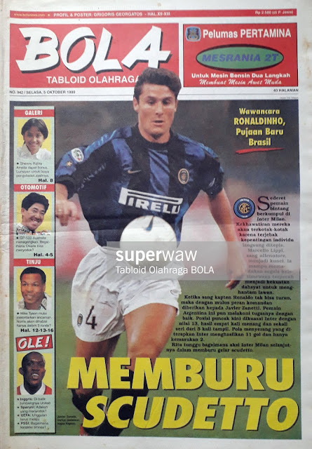 TABLOID BOLA COVER JAVIER ZANETTI INTER MILAN
