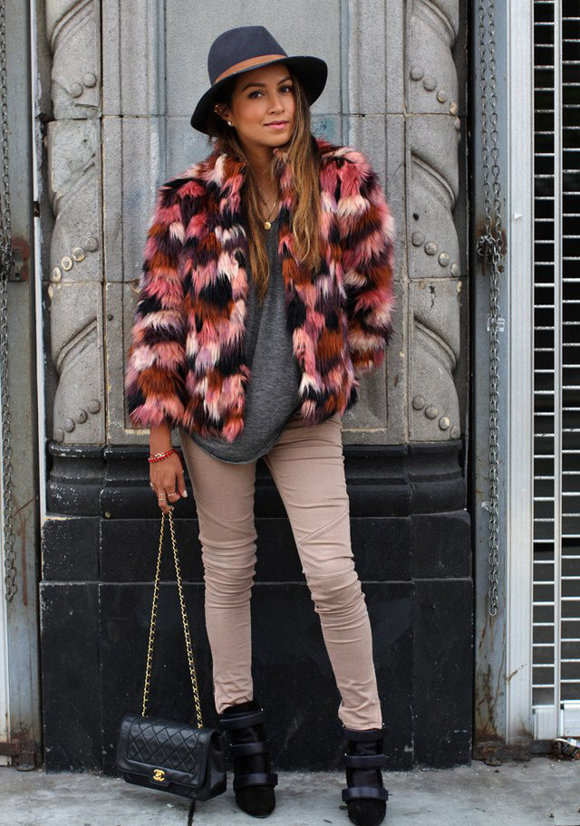 Fashion blogger Sincerely Jules wearing multicolor faux fur coat by River Island, colourful furry jacket big winter 2014 trend