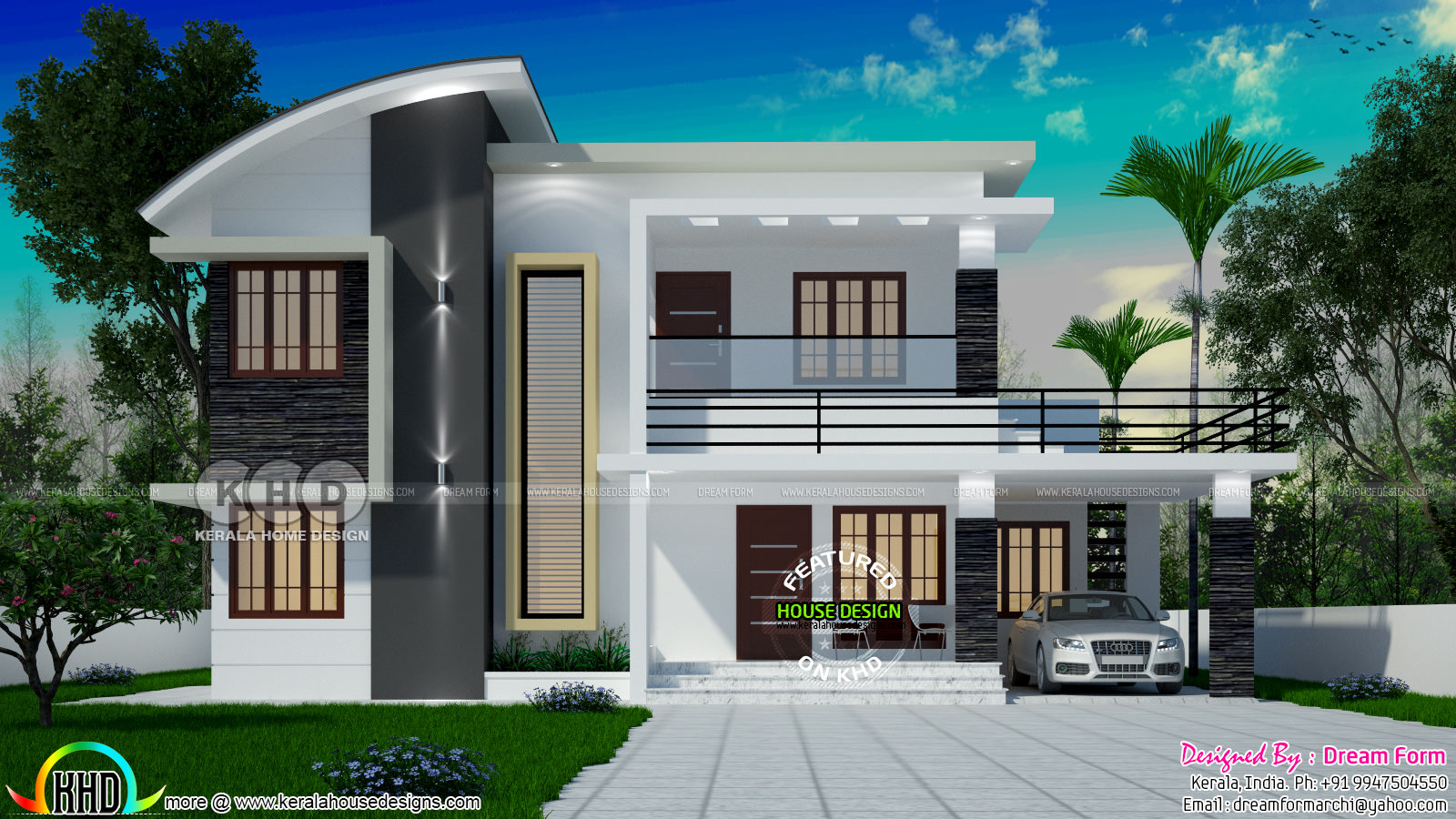1991 square feet 4 bedroom modern house plan kerala home for Four square house designs