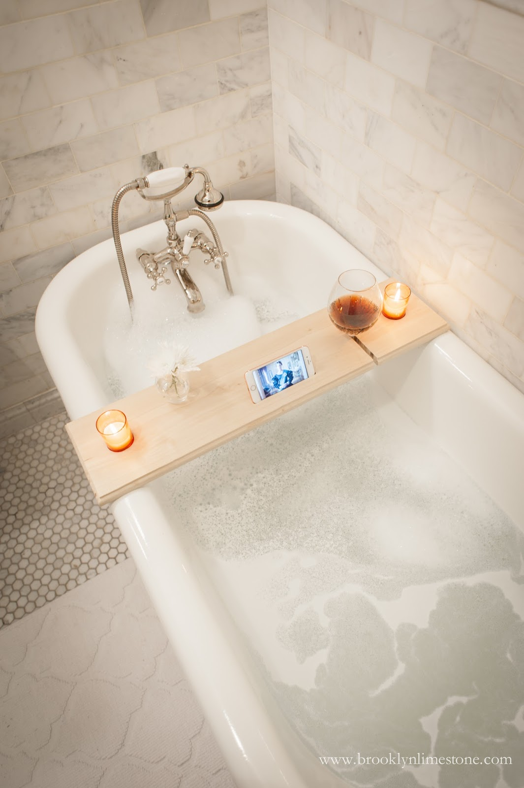 DIY NETFLIX + CHILL BATH CADDY | Brooklyn Limestone