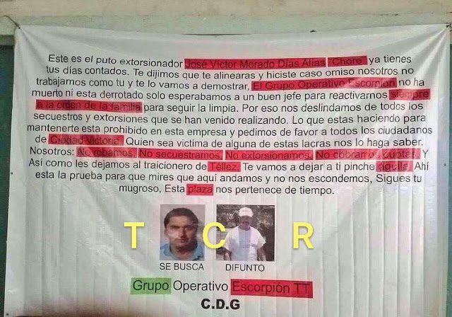 """CON NARCOMANTA GRUPO ESCORPIÓN DEL CDG AMENAZA A """"EL CHORE"""" Y MANDO """"ÁGUILA"""""""