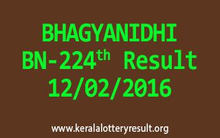 BHAGYANIDHI BN 224 Lottery Result 12-02-2016