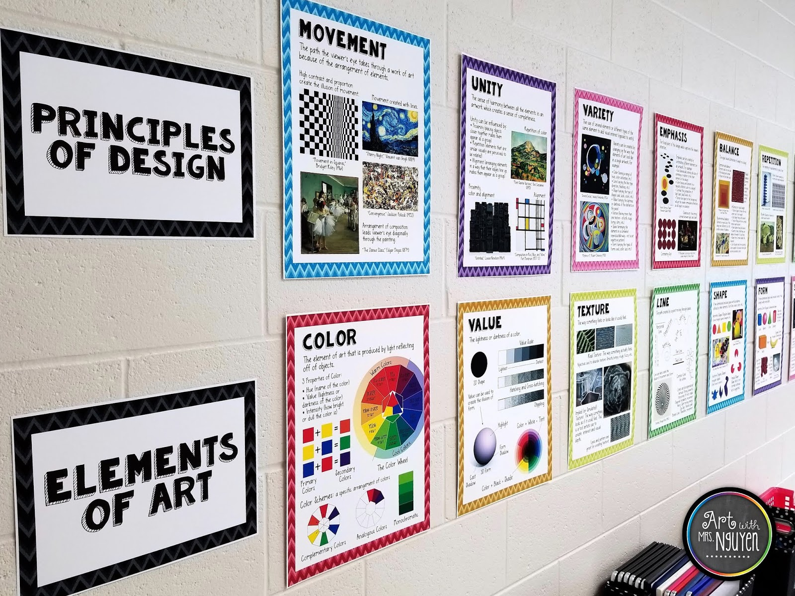 Another item I like to hang on the back wall of my classroom is my Elements of Art and Principles of Design Poster set. Putting these posters next to where ... & Art Room Decor Resources - Art with Mrs. Nguyen