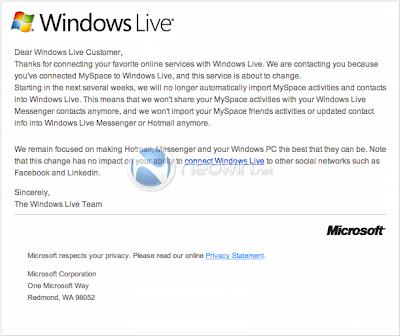Neowin, MySpace, Windows Live descontinuação