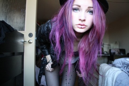 Style Indie Hipster Lila Haare