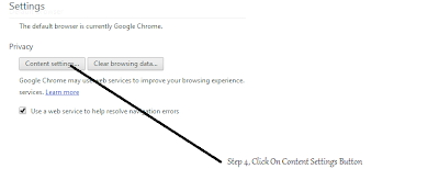 Step 4, Click On Content Settings Buttons