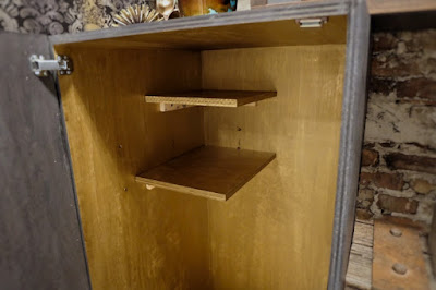 gold paint inside cabinet