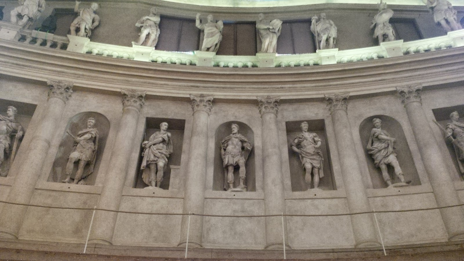 The statues depicting the members of the Accademia Olimpica in Teatro Olimpico in Vicenza