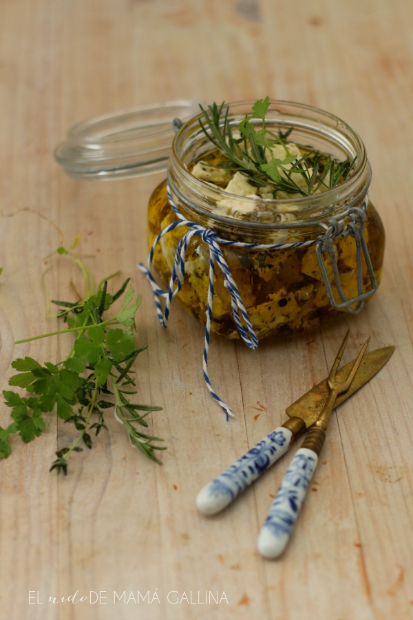 cheese in oil with herbs