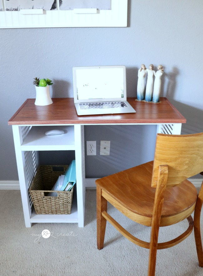 shutter desk, repurposed materials