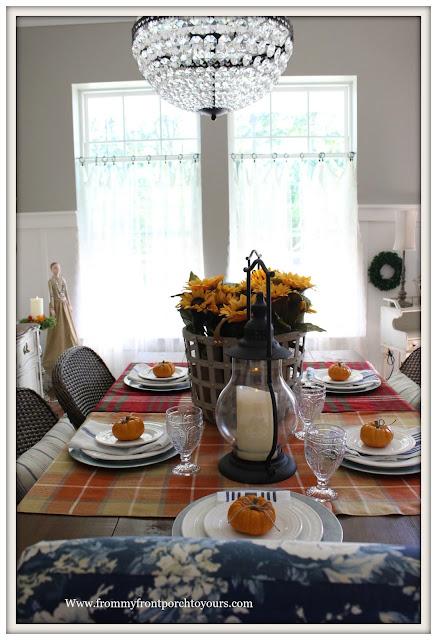 French Farmhouse Style Fall Dining Room-Basket of Sunflowers-Pumpkin Table Setting--From My Front Porch To Yours