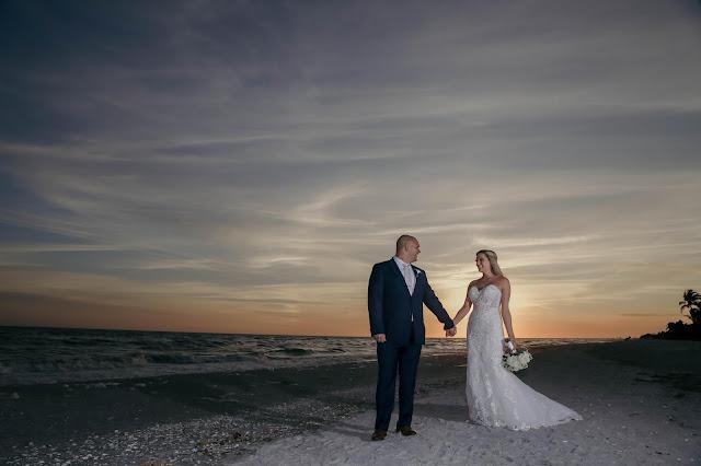 bridal portrait on sanibel island at sunset