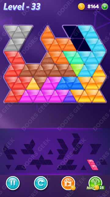 Block! Triangle Puzzle Champion Level 33 Solution, Cheats, Walkthrough for Android, iPhone, iPad and iPod