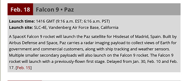Latest announcement for Falcon 9 launch with Paz satellite (Source: www.spaceflightnow.com)