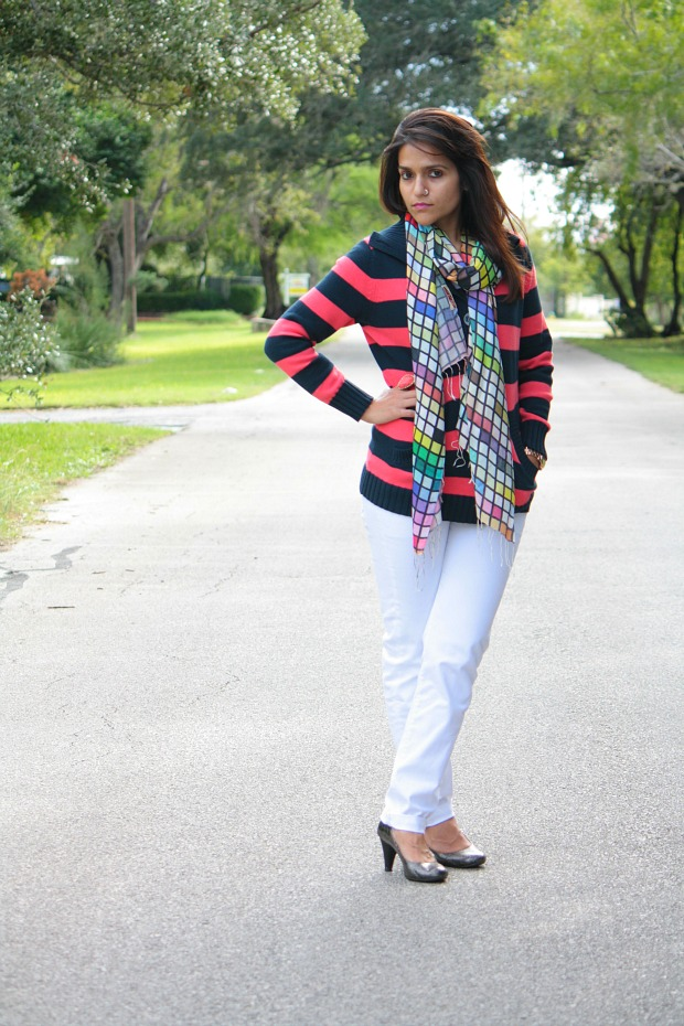 Striped Sweater, GAP Jeans, Kenneth Cole Shoes, Tanvii.com