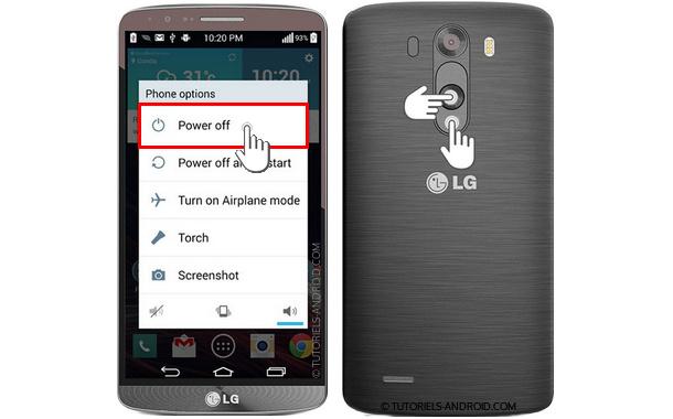 Hard Reset Mobile LG via les touches physiques