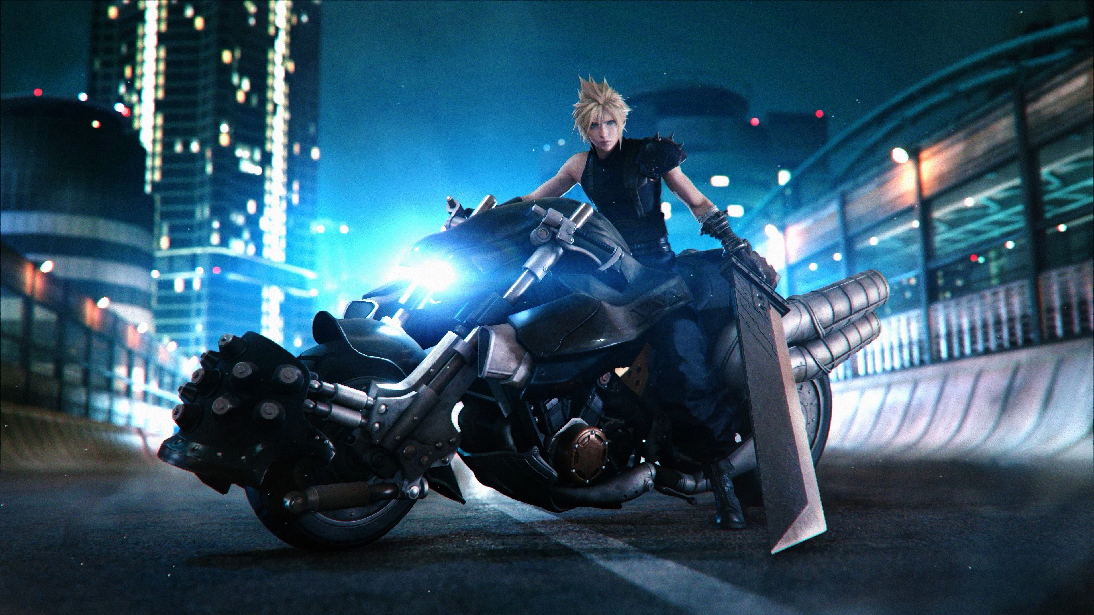 Cloud Strife Motorcycle Final Fantasy 7 Remake 4k Wallpaper 28