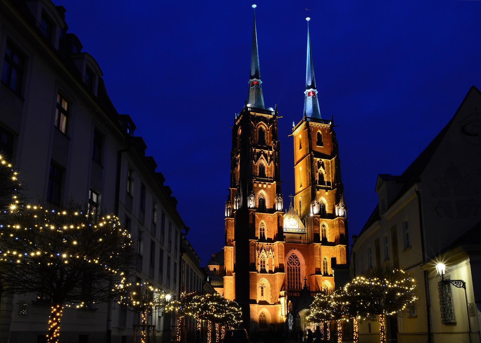 Ostrów Tumski nocą - Wrocław