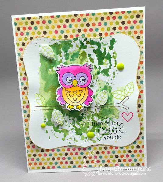 Neon Owl card by Danielle Pandeline | What a Hoot Stamp Set & Die Set by Newton's Nook Designs #newtonsnook