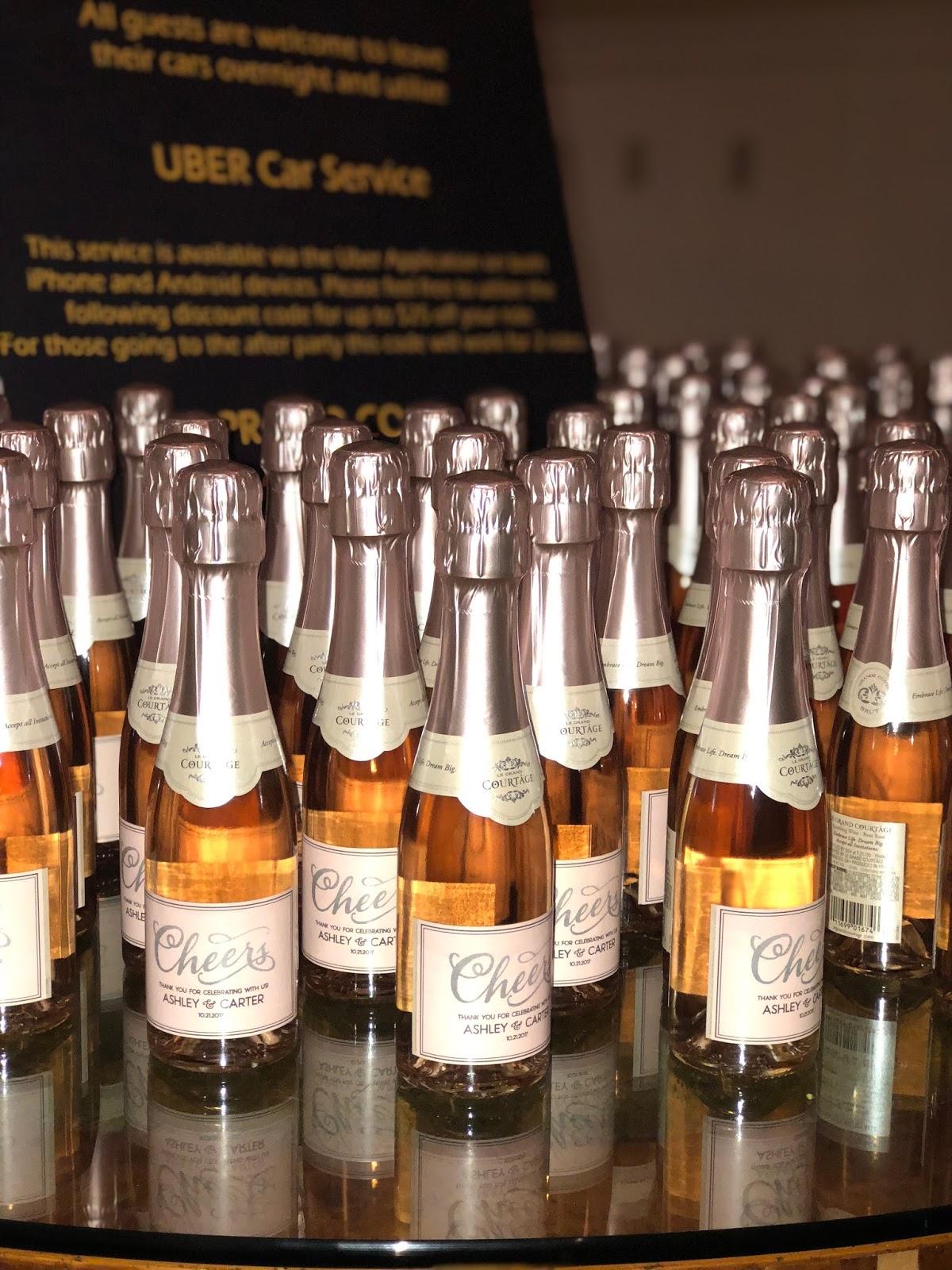 Boston wedding planners, new england wedding planner, wedding favor idea, mini champagne bottle