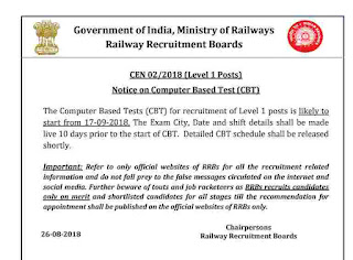 RRB Group D Official Exam Date 2018: Check Railways Notice
