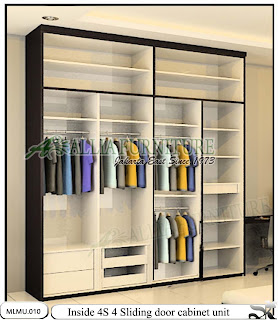 Dalam lemari minimalis pintu sliding model cabinet unit 4S