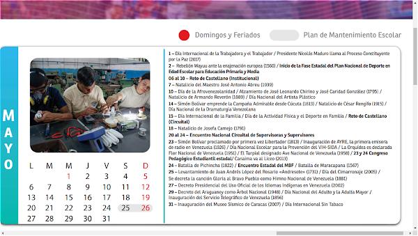 Calendario Escolar 2018- 2019 mes de mayo, descárgalo ya en el siguiente link