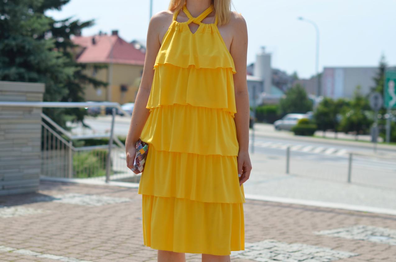 Żółta Sukienka falbany Yellow frill dress