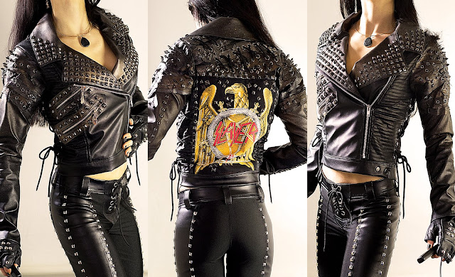 Spiked & studded heavy metal leather jacket with Slayer backpatch & zip pockets