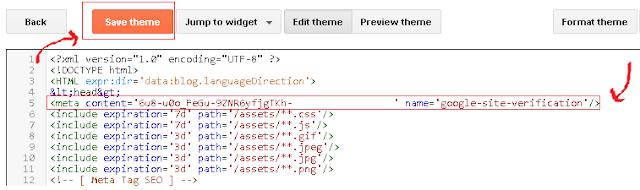 Kode Verifikasi Blog di Template Blog