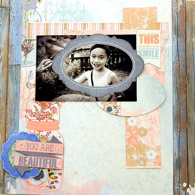 You Are Beautiful Layout by Irene Tan using BoBunny Butterfly Kisses Collection