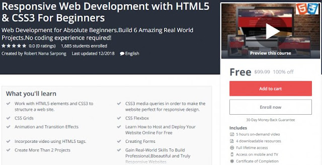 [100% Off] Responsive Web Development with HTML5 & CSS3 For Beginners| Worth 99,99$