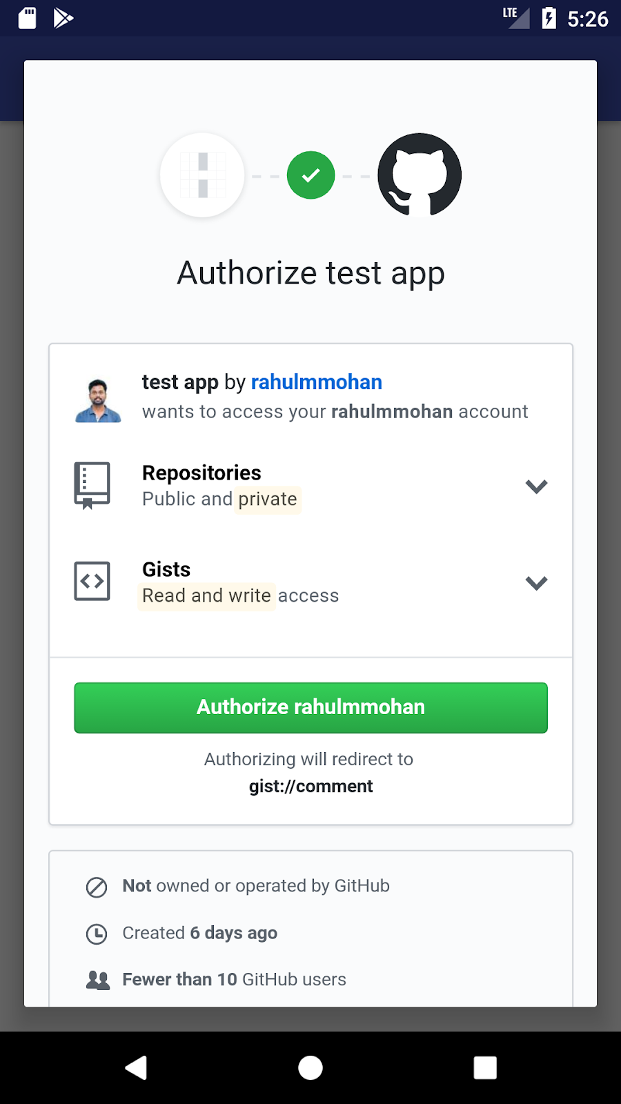 Github OAuth Client Library - Android