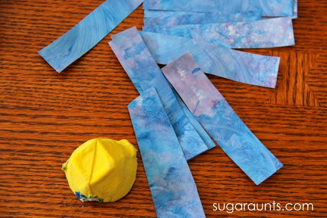 Spring flower craft using recycled art materials.