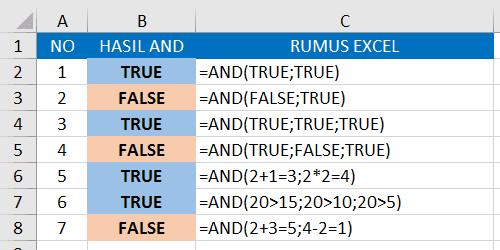 Contoh Fungsi/Rumus AND 1