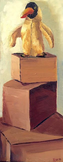 oil painting of a toy on boxes, recording a house move