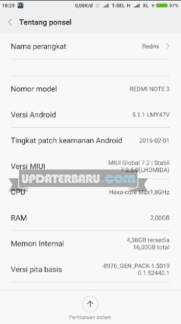 perbaharui Xiaomi Redmi Note 3 PRO ke MIUI Versi 7.2.5.0 bagi yang belum dapat notifikasi di pembaruan
