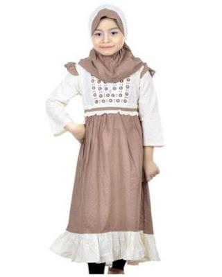 contoh desain baju muslim anak trend terkini