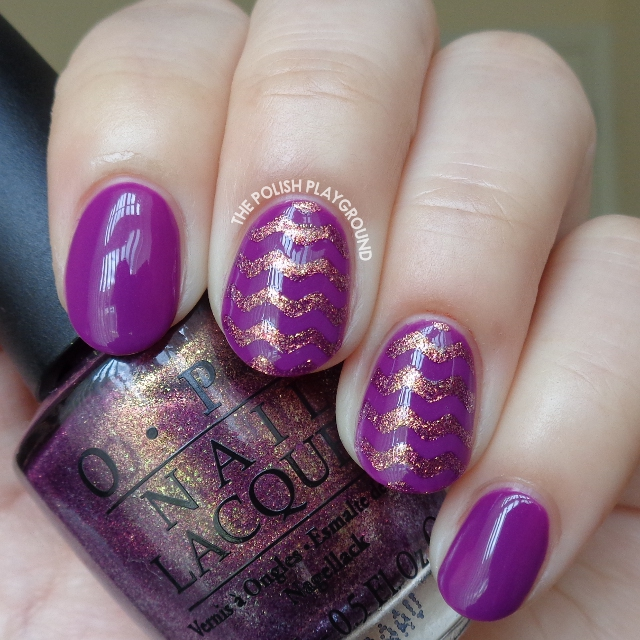 Golden Purple Chevron Nail Art