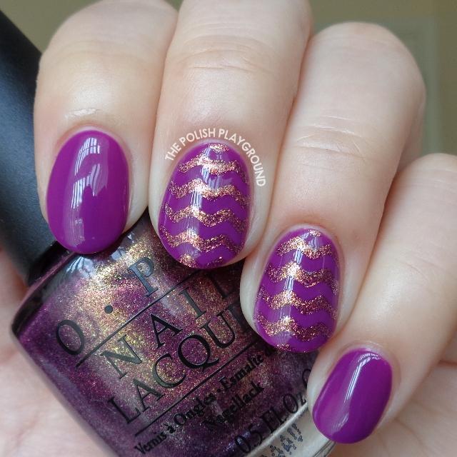 Golden Purple Chevron Nail Art