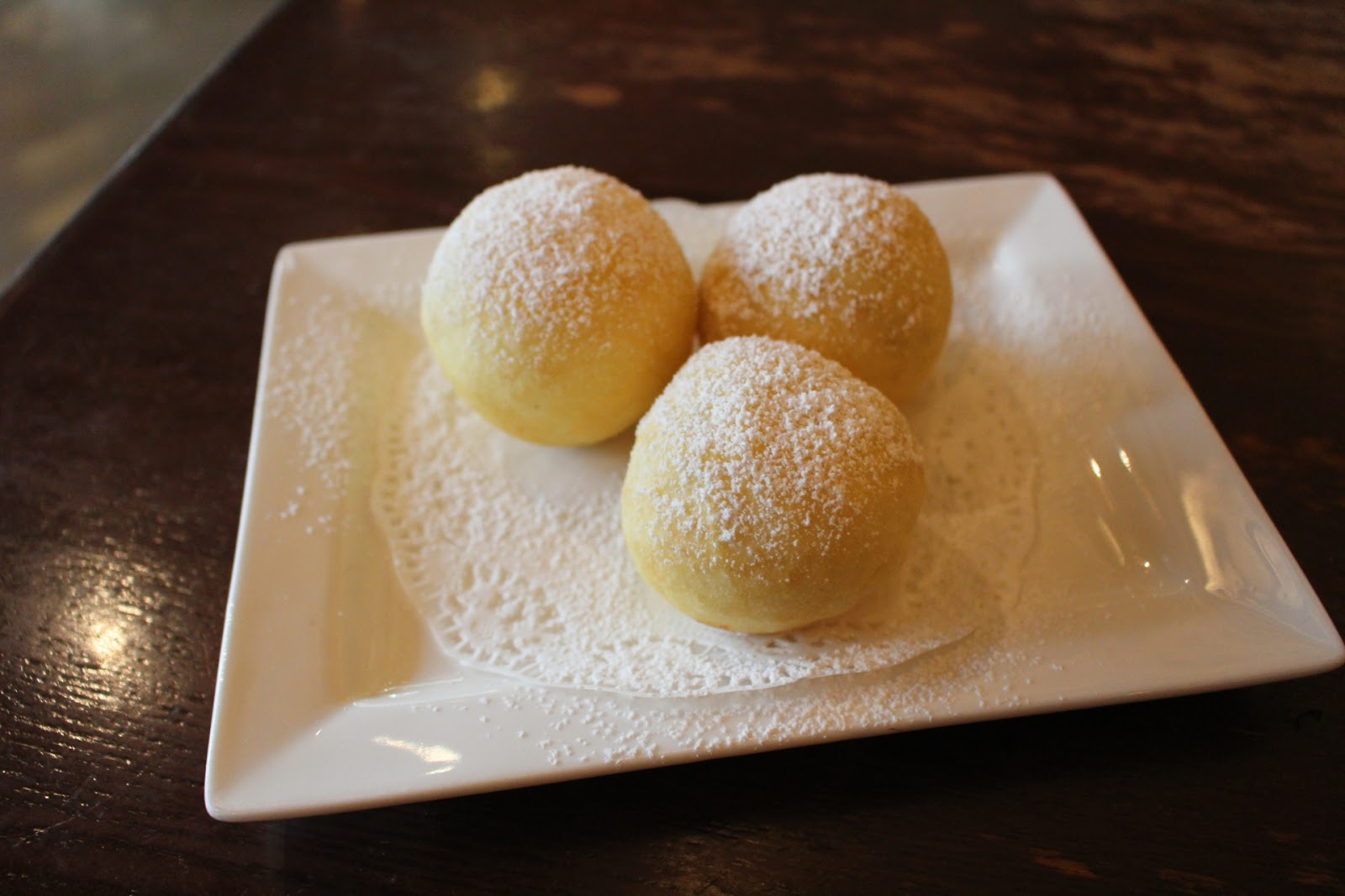 Signature soufflé egg white balls stuffed with red bean and banana