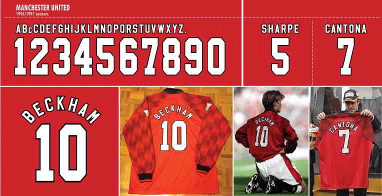 ed9b38008 Updated from my previous worked for the Manchester United font 1996-97 home  version. From my references the Umbro 1996 and 1998 version have the same  design ...